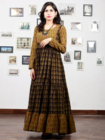 Olive Green Black Bagh Printed Cotton Long Tier Dress  - D135F1704