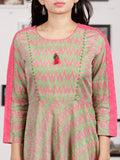 Pink Light Green Handloom Mercerised Ikat Long Cotton Dress - D315F1033