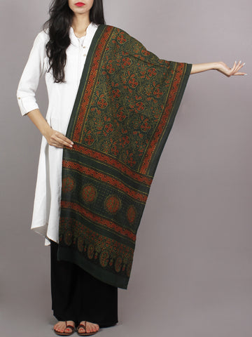 Dark Green Maroon Black Mughal Nakashi Ajrakh Hand Block Printed Cotton Stole - S63170147
