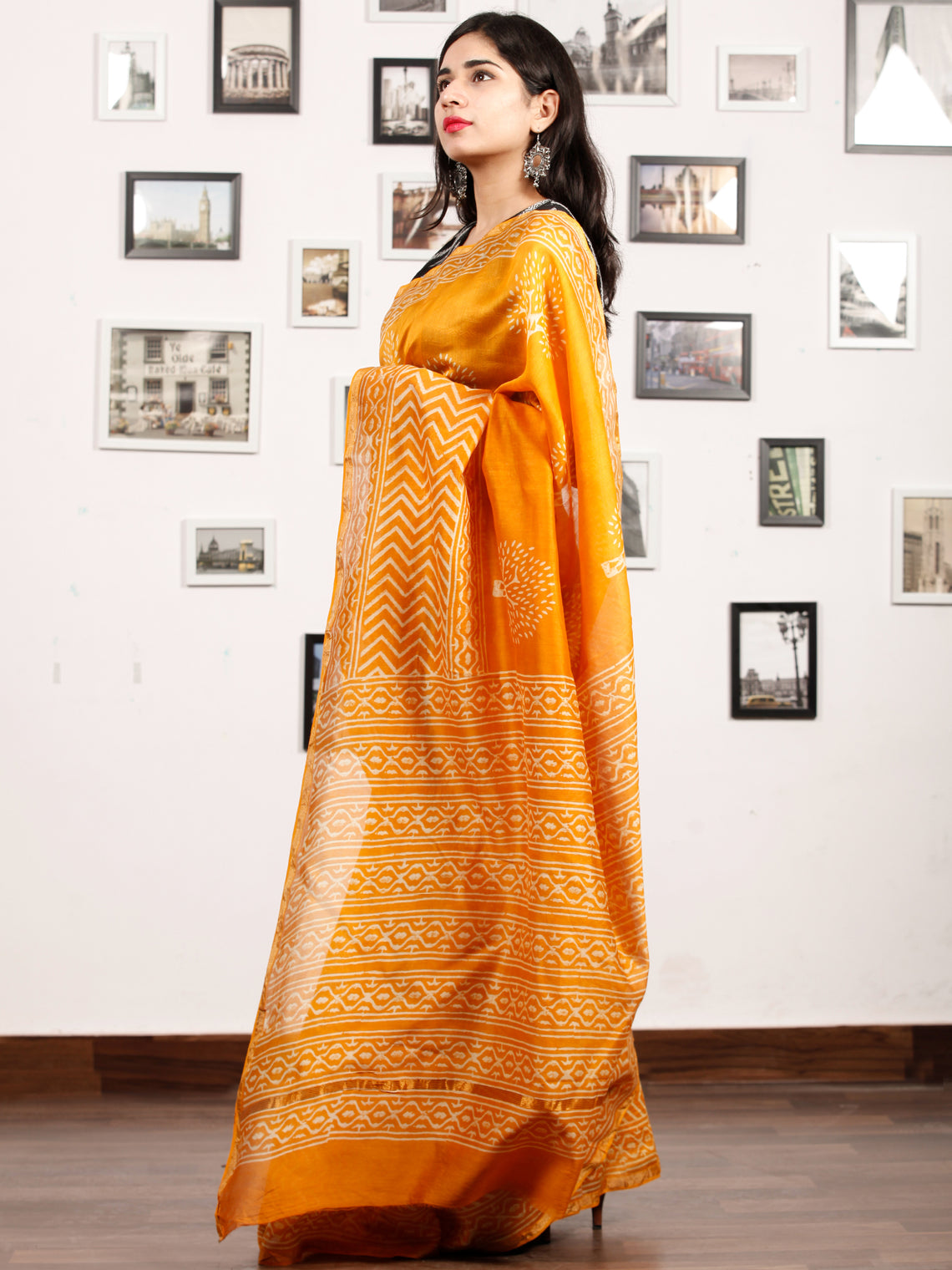 Golden Yellow Ivory Chanderi Silk Hand Block Printed Saree With Zari Border - S031703189