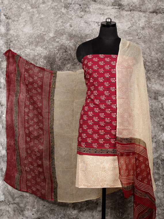 Cherry Red Beige Black Hand Block Printed Cotton Suit-Salwar Fabric With Chiffon Dupatta (Set of 3) - SU01HB363