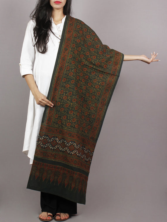 Dark Green Maroon Black Mughal Nakashi Ajrakh Hand Block Printed Cotton Stole - S63170149
