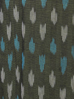 Asparagus Green Azure White Ikat Handwoven Cotton Suit Fabric Set of 3 - S1002040