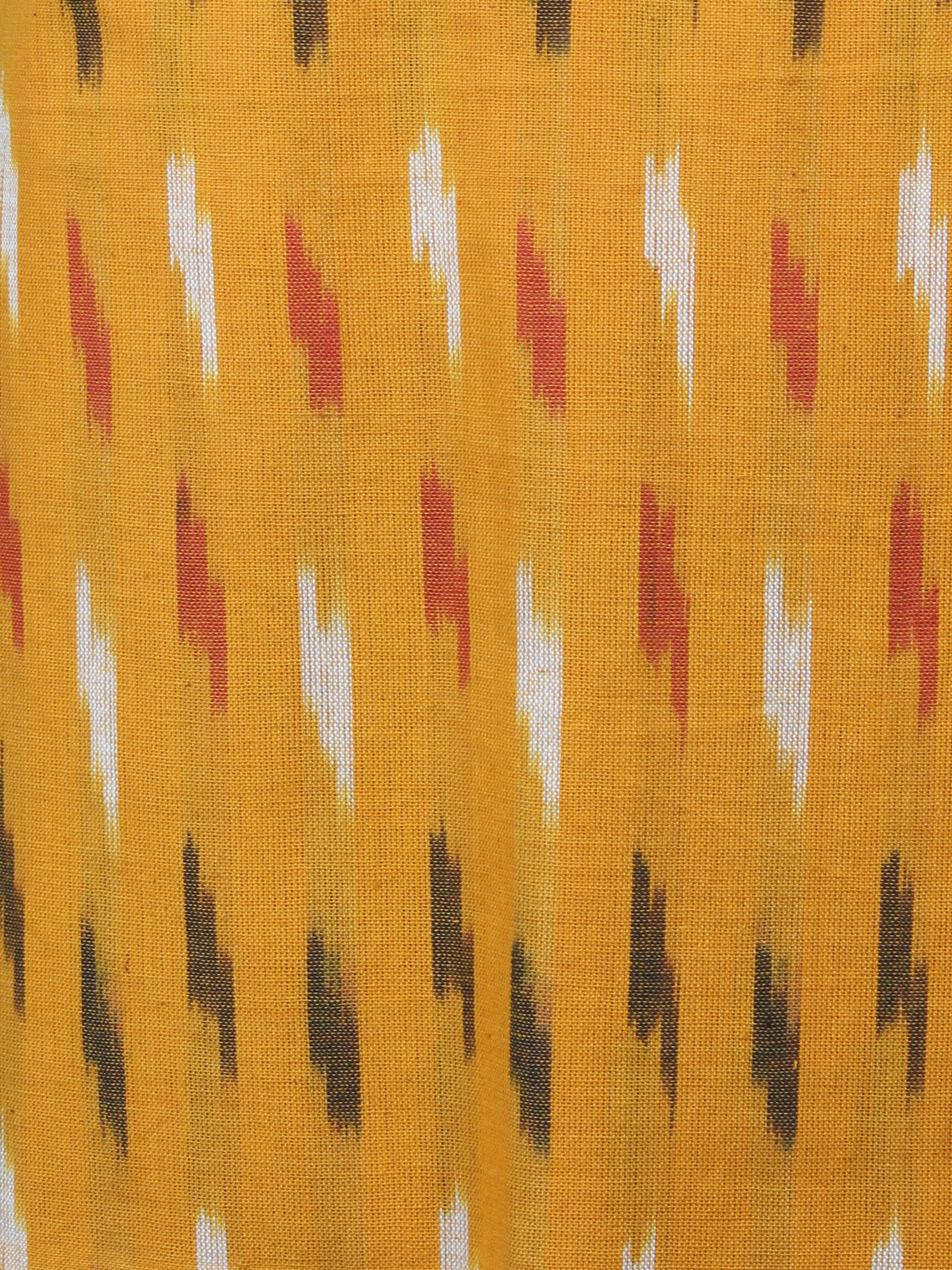 Yellow Black Red White Ikat Handwoven Cotton Suit Fabric Set of 3 - S1002041