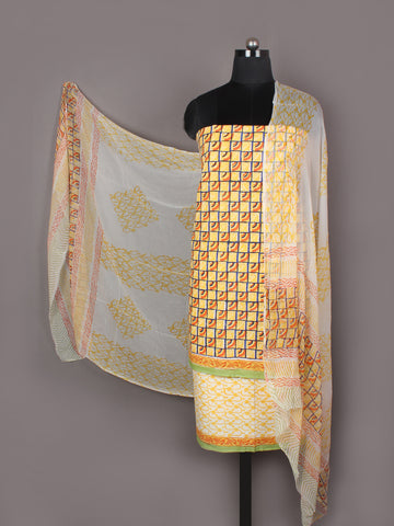Yellow Orange Ivory Hand Block Printed Cotton Suit-Salwar Fabric With Chiffon Dupatta - S1628155