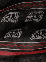 Black White Red Hand Block Printed Cotton Suit-Salwar Fabric With Chiffon Dupatta (Set of 3) - SU01HB365