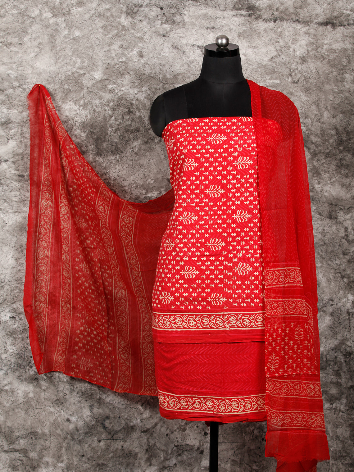 Red Beige Hand Block Printed Cotton Suit-Salwar Fabric With Chiffon Dupatta (Set of 3) - SU01HB366