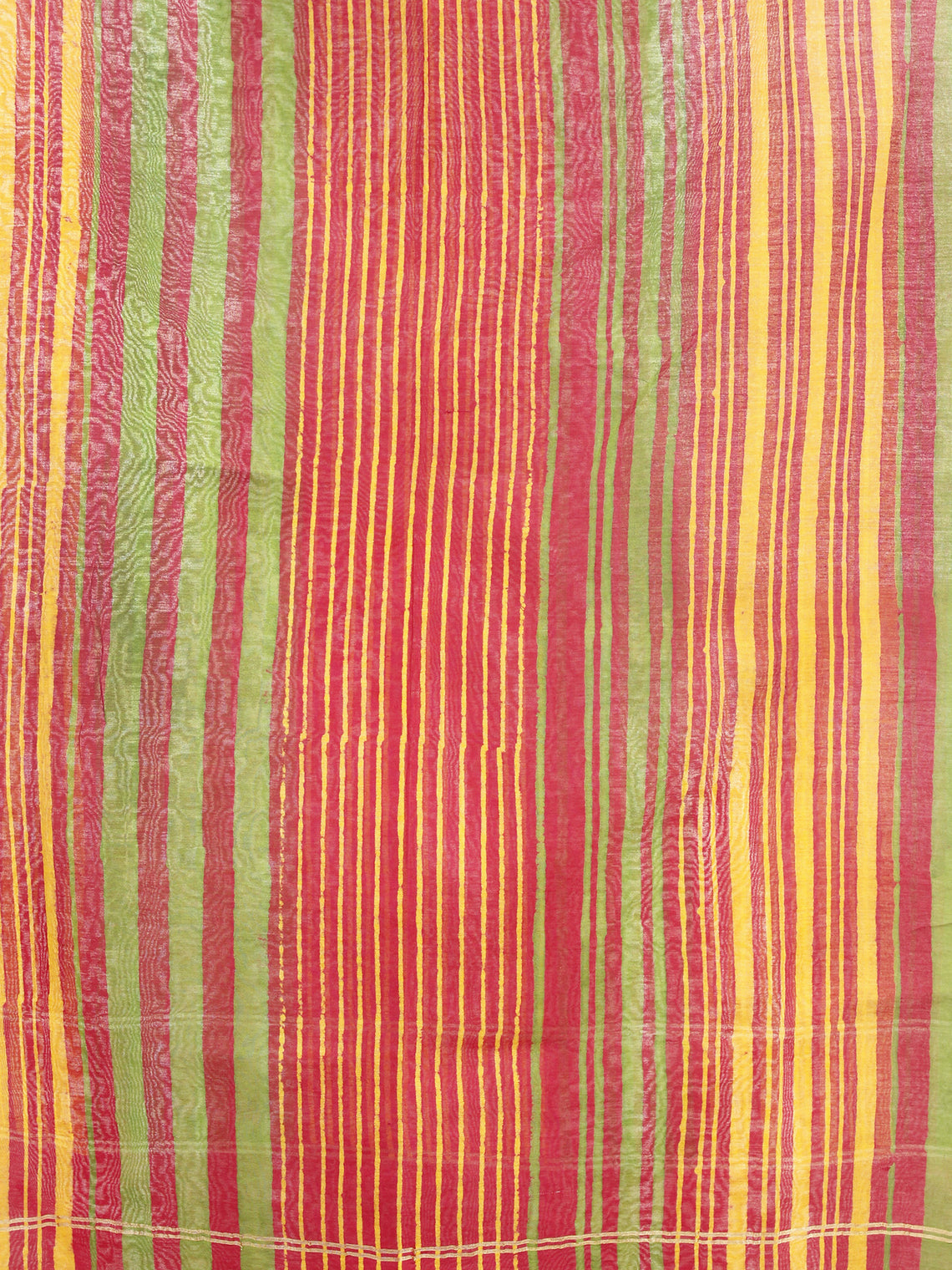 Red Yellow Green Chanderi Hand Black Printed & Hand Painted Dupatta - D04170251