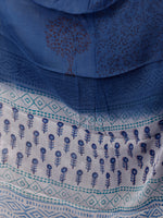 White Blue Hand Block Printed Cotton Suit-Salwar Fabric With Chiffon Dupatta (Set of 3) - SU01HB367