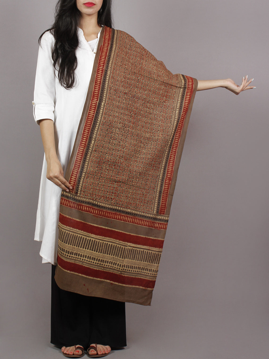 Brown Beige Maroon Black Mughal Nakashi Ajrakh Hand Block Printed Cotton Stole - S63170154