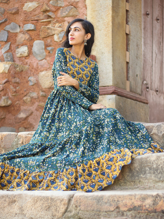 Mughal Inheritance - Hand Block Printed Long Cotton Tier Flared Dress - D139F1729