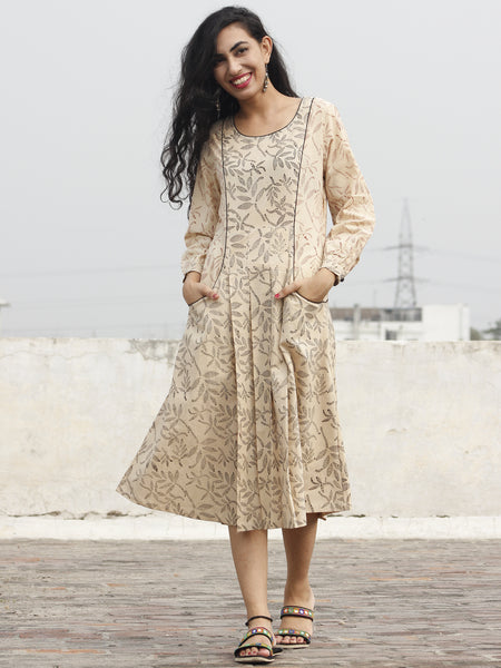 Beige Black Red Hand Block Printed Dress With Peasant Sleeve And Front Pocket - D91F241