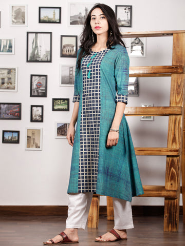 Teal Green Indigo White Hand Printed Ajrakh Kurta With Tassels - K72F1542