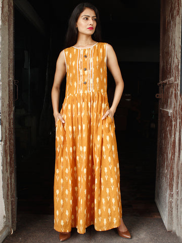 Mustard Ivory Long Handwoven Double Ikat Dress With Gathers & Side Pockets - D28F1569