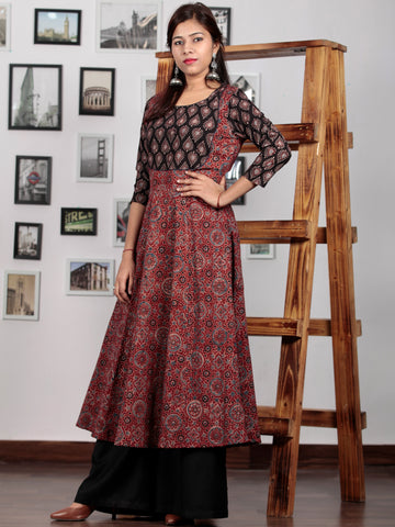 Maroon Black Baby Pink Ajrakh Hand Block Printed Kurta in Natural Colors - K66BP0109