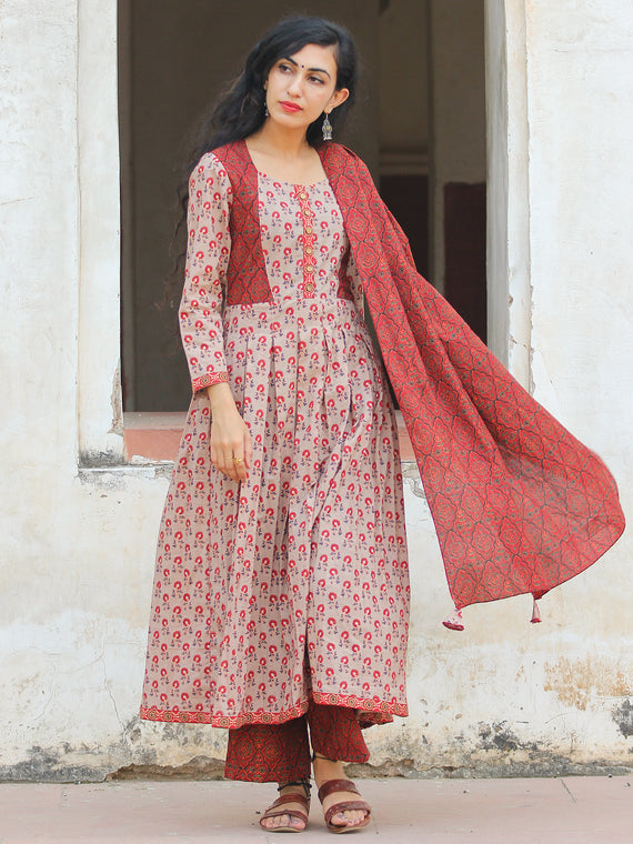 Poppy Poises - Hand Block Printed Kurta Set With Dupatta - SS01F1876