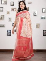 Beige Red Hand Block Printed Kota Doria Saree With Golden Highlighting - S031703137