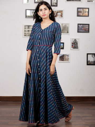 Indigo White Light Blue Long Handwoven Ikat Dress  - D314F1455