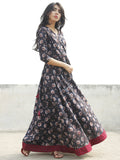 Black Maroon  Ivory Indigo Hand Blocked Cotton Long Dress With Tie-Up Back Waist  - D162F985