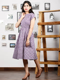 Purple White Hand Woven Ikat Cotton Middi Dress With Elastic Waist  - D271F1261