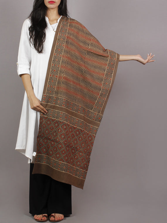 Brown Beige Maroon Black Mughal Nakashi Ajrakh Hand Block Printed Cotton Stole - S63170157