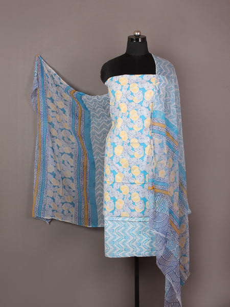 Arctic Blue White Yellow Hand Block Printed Cotton Suit-Salwar Fabric With Chiffon Dupatta - S1628164