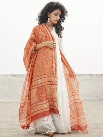 Apricot Orange Red Chanderi Hand Black Printed & Hand Painted Dupatta - D04170256