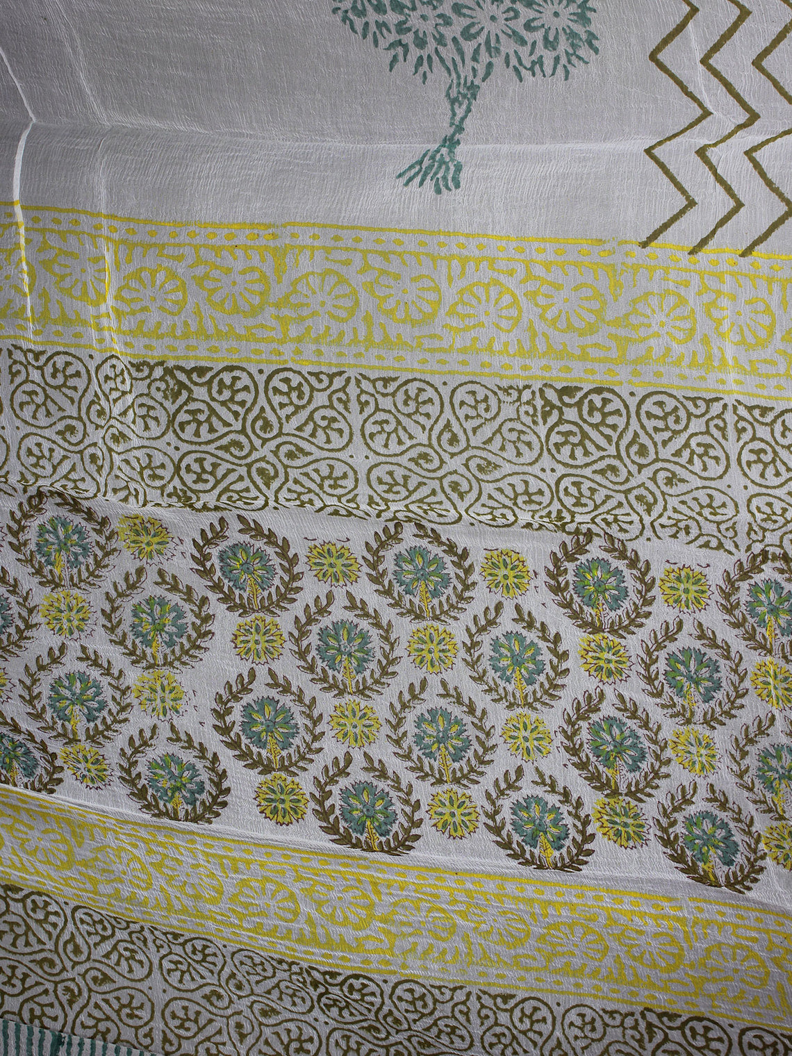 Seafoam Green Yellow Ivory Hand Block Printed Cotton Suit-Salwar Fabric With Chiffon Dupatta - S1628165