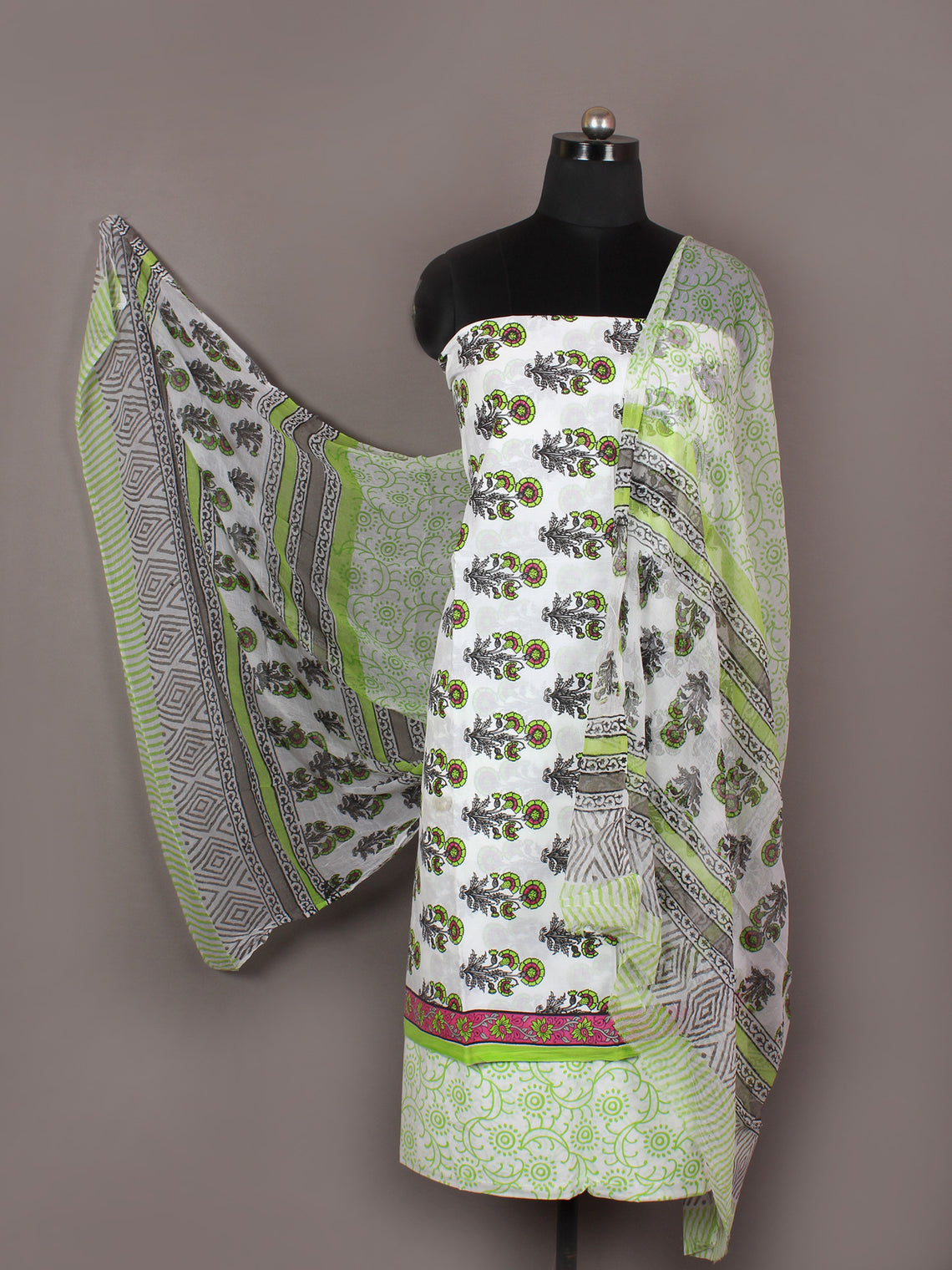 Ivory Grey Green Pink Hand Block Printed Cotton Suit-Salwar Fabric With Chiffon Dupatta - S1628167