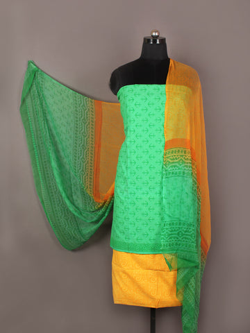 Seafoam Green Yellow Orange Hand Block Printed Cotton Suit-Salwar Fabric With Chiffon Dupatta - S1628168