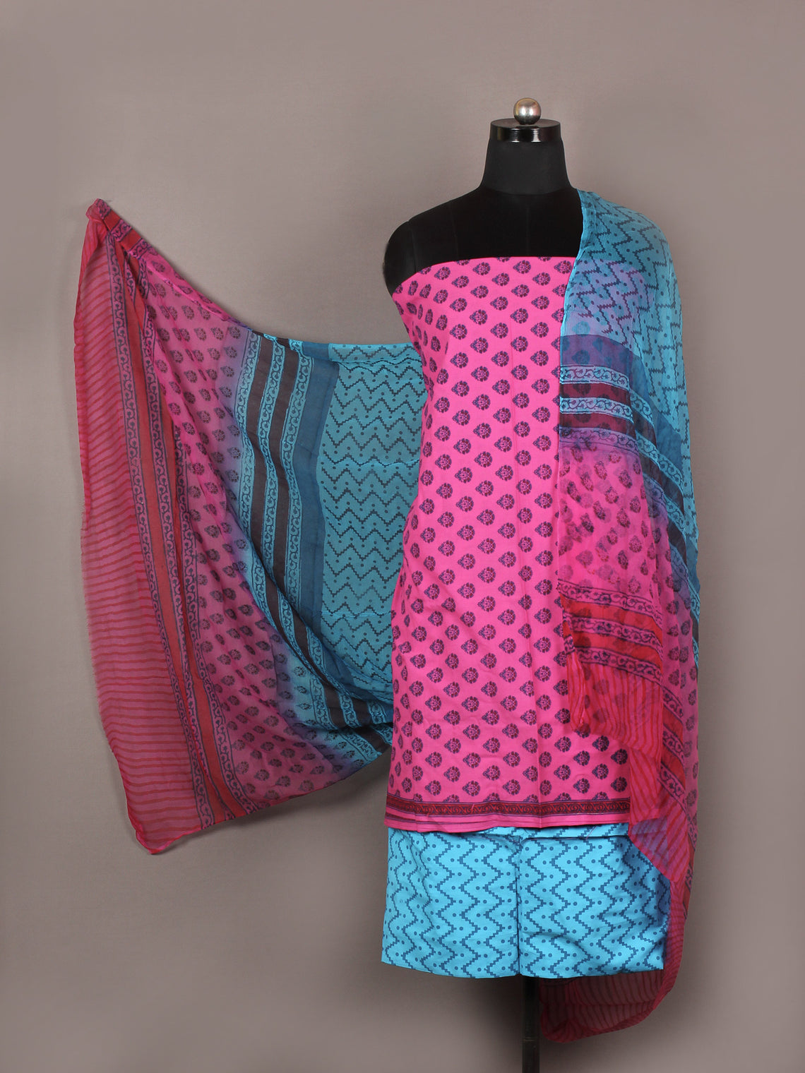 Pink Blue Red Hand Block Printed Cotton Suit-Salwar Fabric With Chiffon Dupatta - S1628169