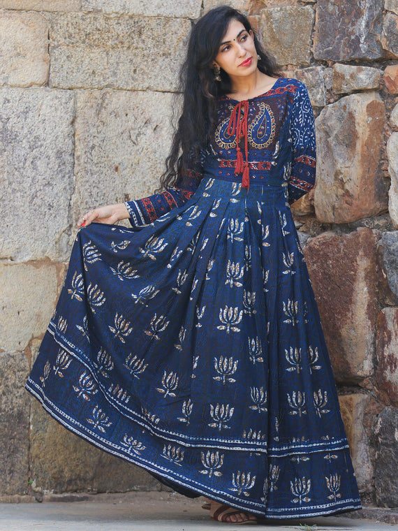 Naaz Lotus Mystique - Hand Block Printed Embroidered Long Cotton Pleated Flare Dress - DS70F001