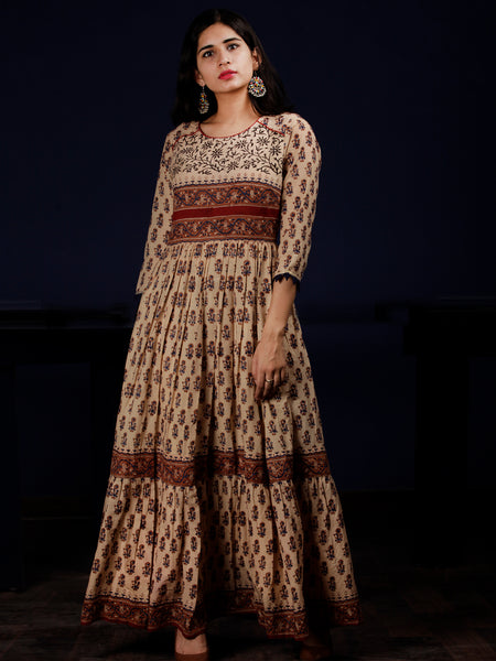 Beige Rust Blue Brown Black Hand Block Printed Long Cotton Two Tier Dress - DS63F001