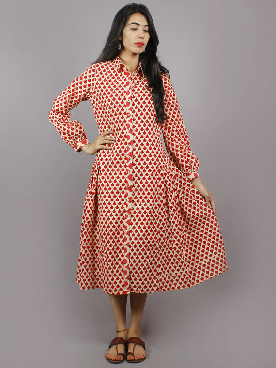 Red Ecru Hand Block Cotton Front Open Dress With Side Pleats & Shirt Collar - D4948501