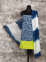 Indigo Lime Green White Hand Block Printed Cotton Suit-Salwar Fabric With Chiffon Dupatta (Set of 3) - SU01HB328