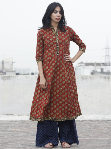 Rust Olive Black Mustard Hand Block Printed Kurti With 3/4 Sleeve And Stand Collar - K14F608