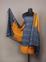 Indigo Yellow Brown White Ikat Handwoven Cotton Suit Fabric Set of 3 - S1002006