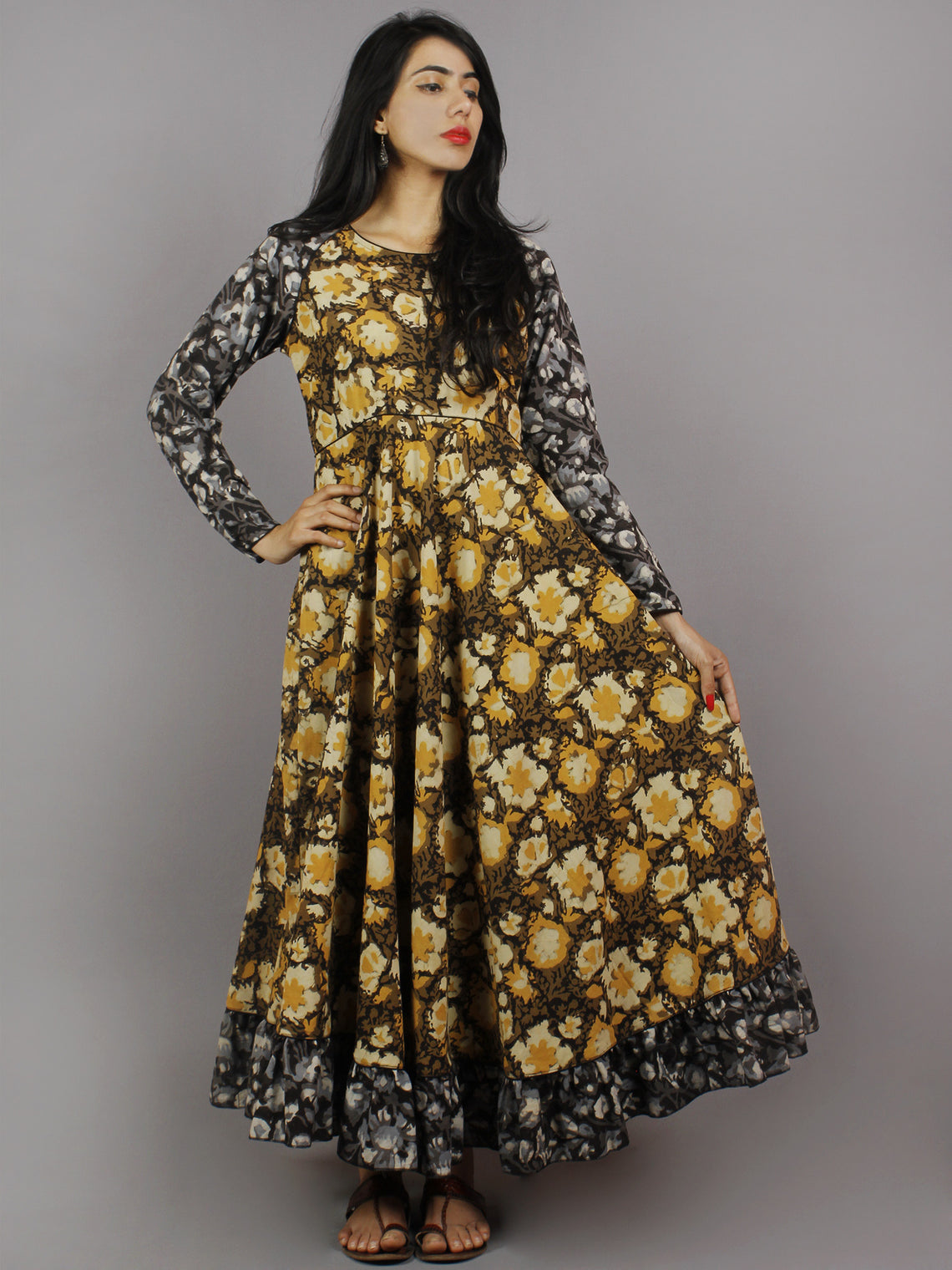 Mustard Yellow Black Grey Hand Block Printed Long Cotton Dress With Gather - D0655619