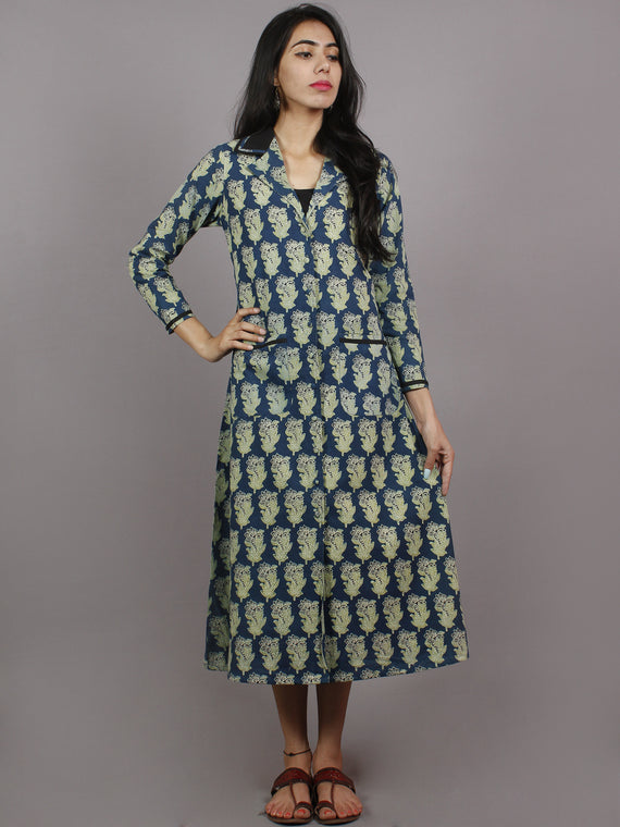 Indigo Mint Green Black Ajrakh Printed Cotton Dress With Front Pockets - D4764201
