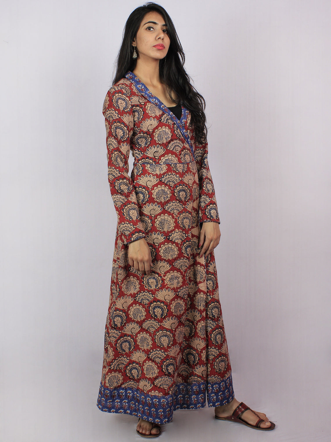 Maroon Beige Blue Black Hand Block Printed Kantha Stitched Long Cotton Angrakha Dress - D2056502