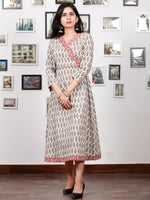 White Red Black Bagh Printed Cotton Midi Length Angrakha Dress  - D299F1702