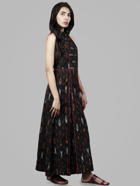 Black Red Yellow Handwoven Ikat Cotton Princess Line Dress With Stand Collar - D4056904