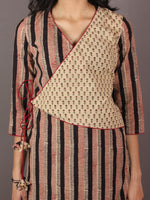 Red Black Beige Hand Block Printed Angrakha Cotton Dress - D1731501