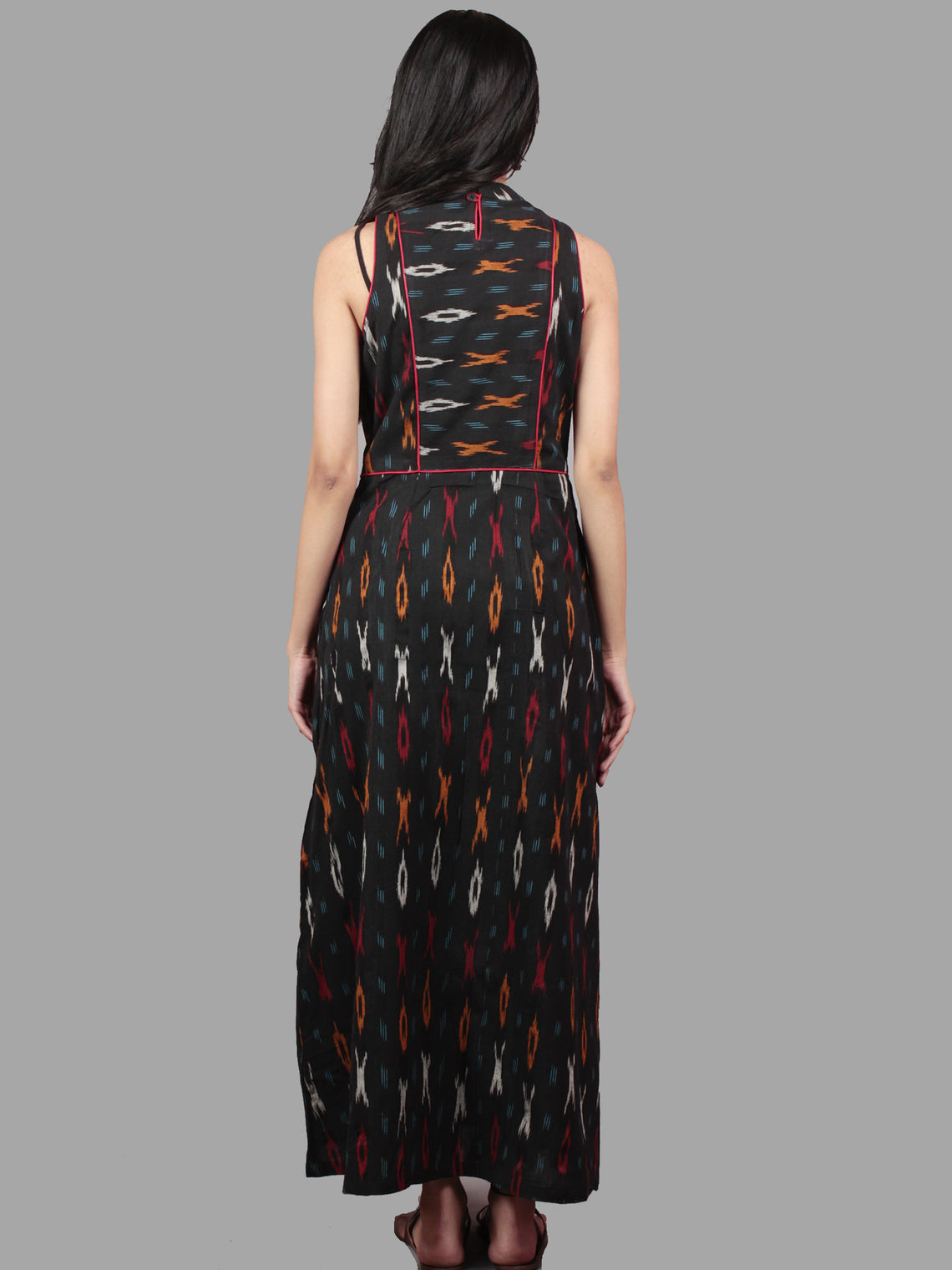 Black White Orange Ikat Long Printed Princess Line Stand Collar Dress - D40F893