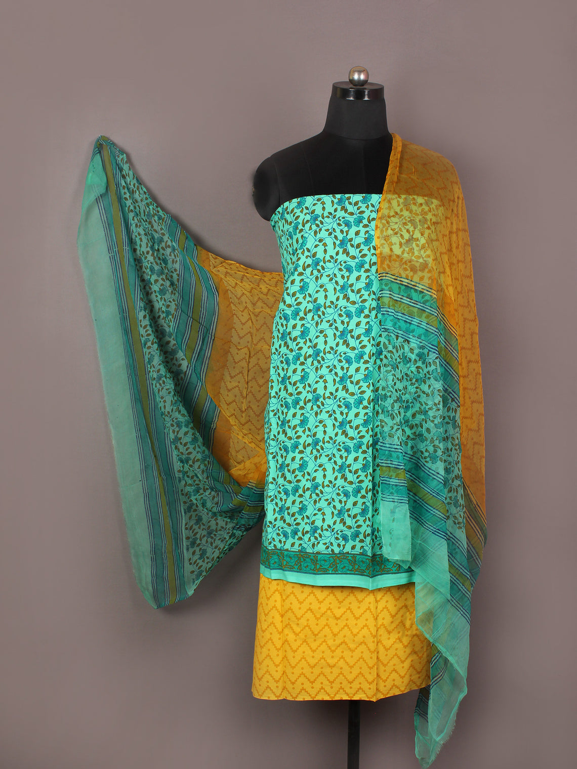 Mint Green Yellow Blue Hand Block Printed Cotton Suit-Salwar Fabric With Chiffon Dupatta - S1628171