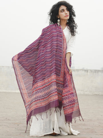 Purple Red Ivory Chanderi Hand Black Printed & Hand Painted Dupatta - D04170264