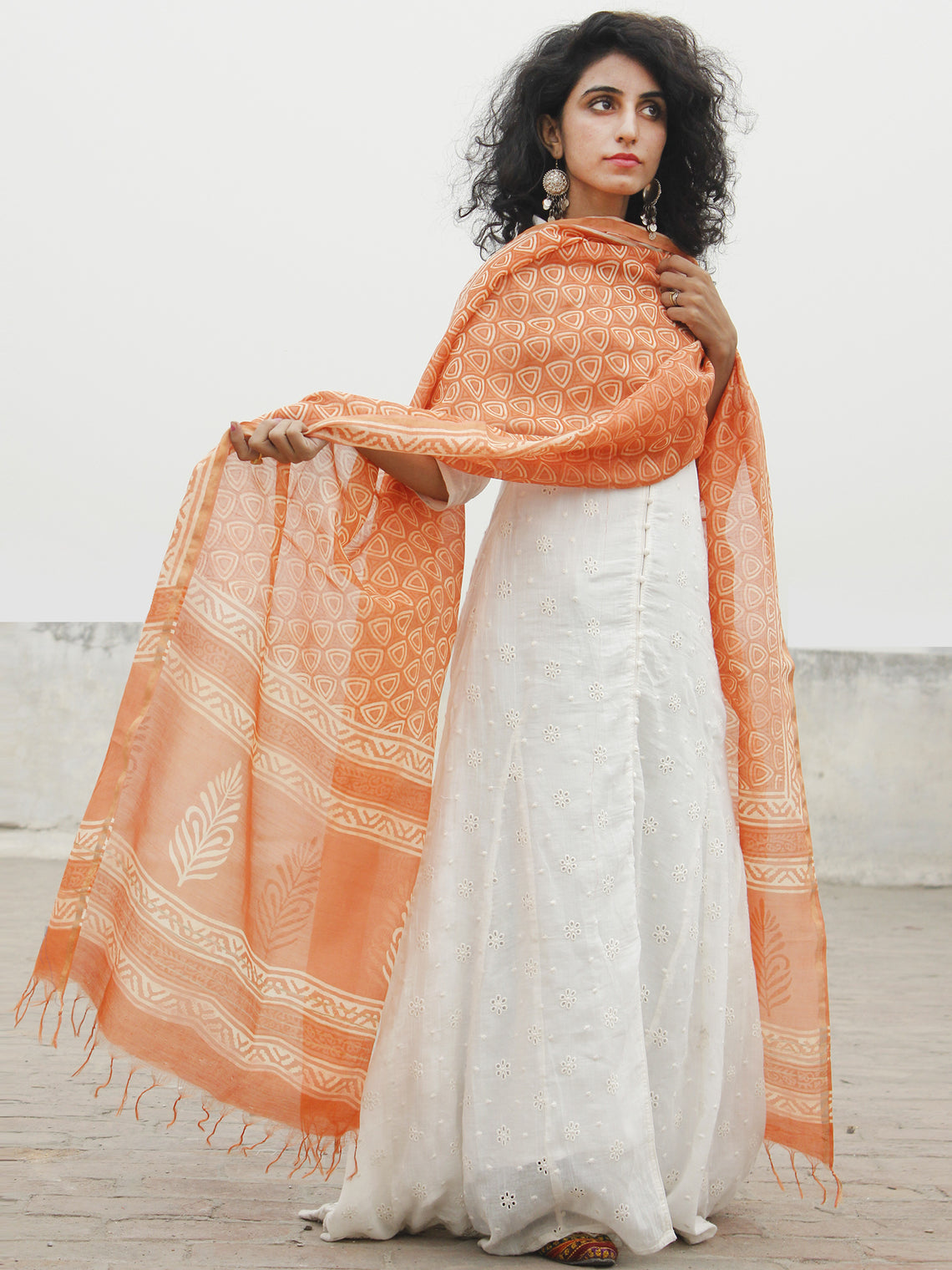 Deep Peach Ivory Chanderi Hand Black Printed & Hand Painted Dupatta - D04170263