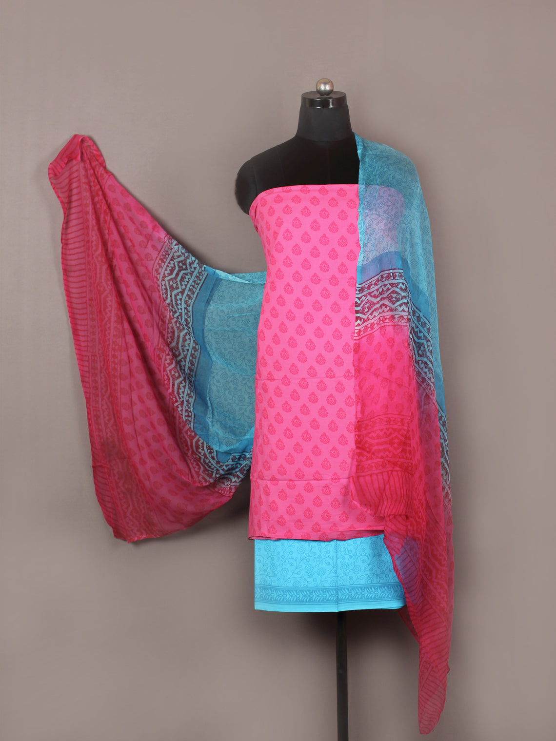 Pink Red Arctic Blue Hand Block Printed Cotton Suit-Salwar Fabric With Chiffon Dupatta - S1628175