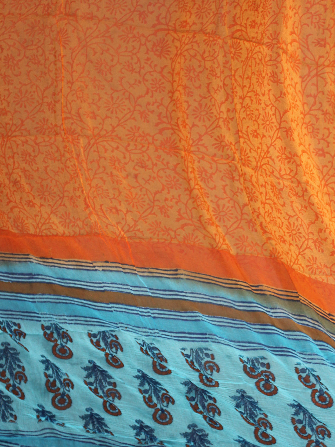 Arctic Blue Brown Orange Red Hand Block Printed Cotton Suit-Salwar Fabric With Chiffon Dupatta - S1628176