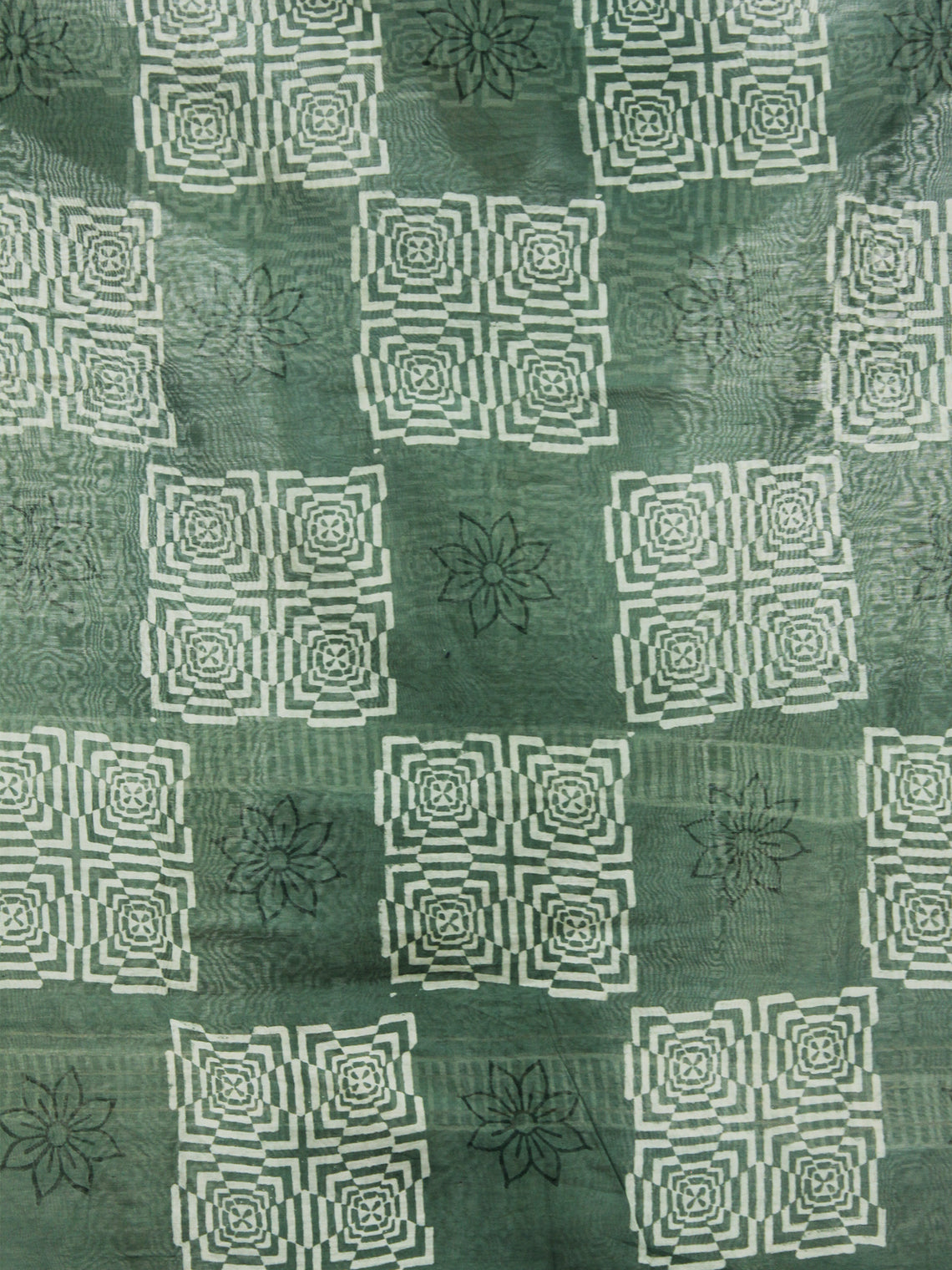 Fern Green Ivory Chanderi Hand Black Printed & Hand Painted Dupatta - D04170270